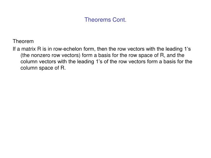 Theorems Cont.