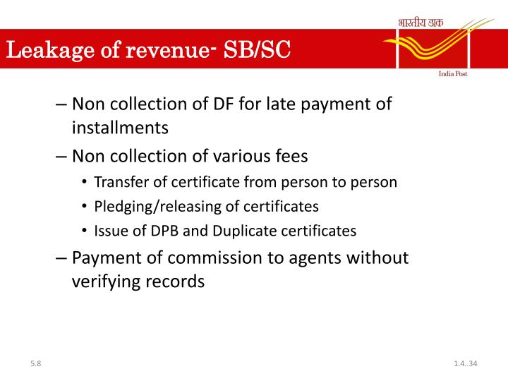 Leakage of revenue- SB/SC