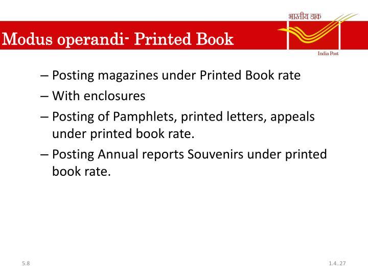 Modus operandi- Printed Book