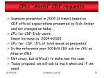 cpu assisi cdf requests
