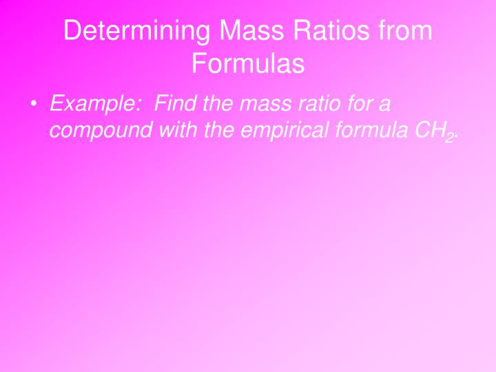 Determining Mass Ratios from Formulas