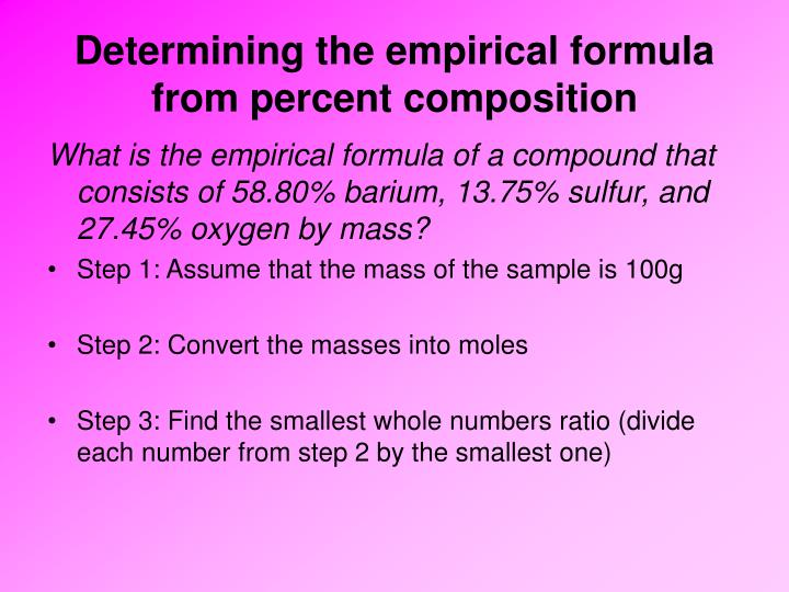 Determining the empirical formula from percent composition