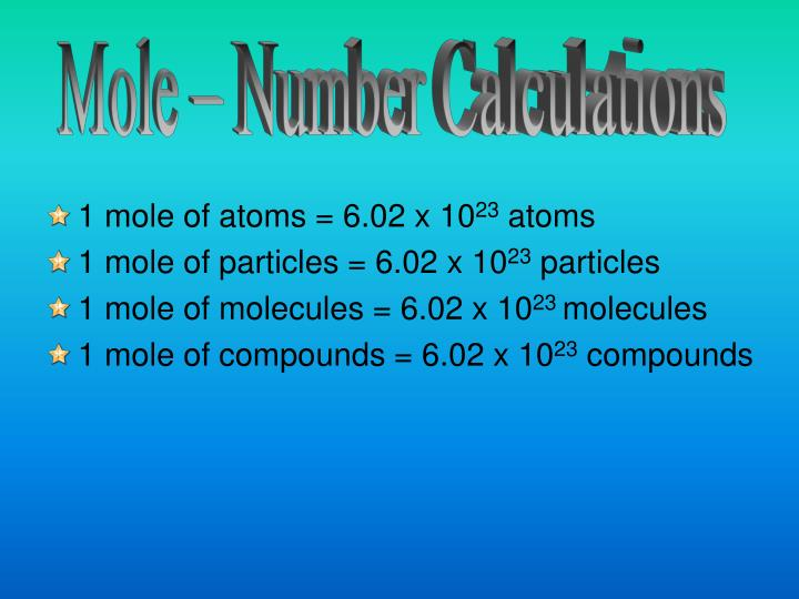 Mole – Number Calculations