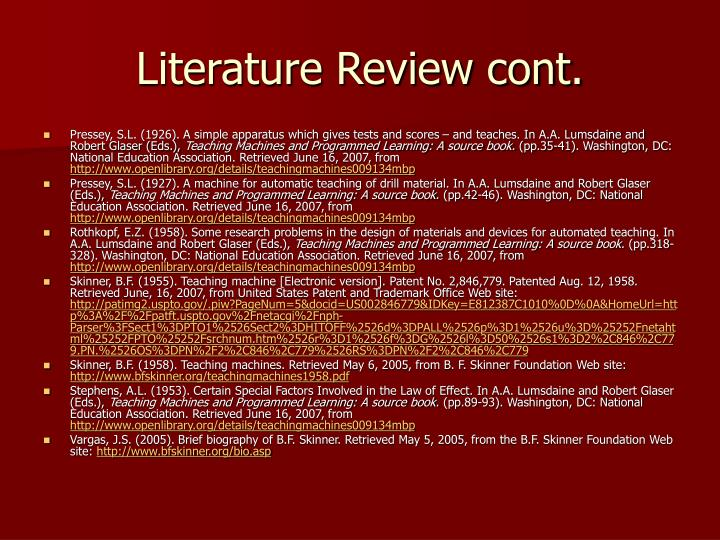 Literature Review cont.