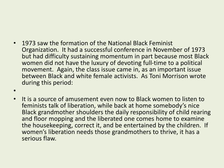 1973 saw the formation of the National Black Feminist Organization.  It had a successful conference in November of 1973 but had difficulty sustaining momentum in part because most Black women did not have the luxury of devoting full-time to a political movement.  Again, the class issue came in, as an important issue between Black and white female activists.  As Toni Morrison wrote during this period: