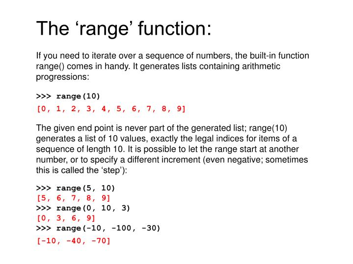The 'range' function
