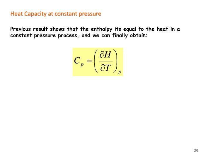 Heat Capacity at constant pressure