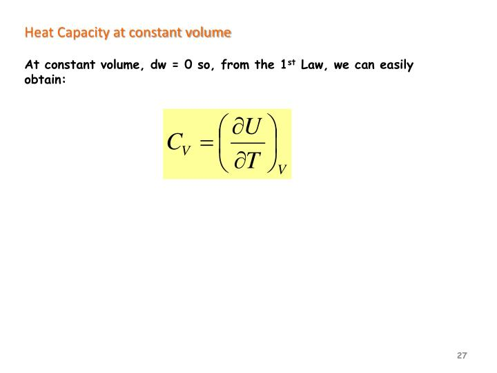 Heat Capacity at constant volume