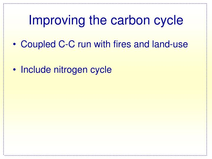Improving the carbon cycle
