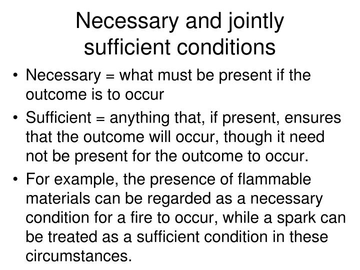 Necessary and jointly sufficient conditions