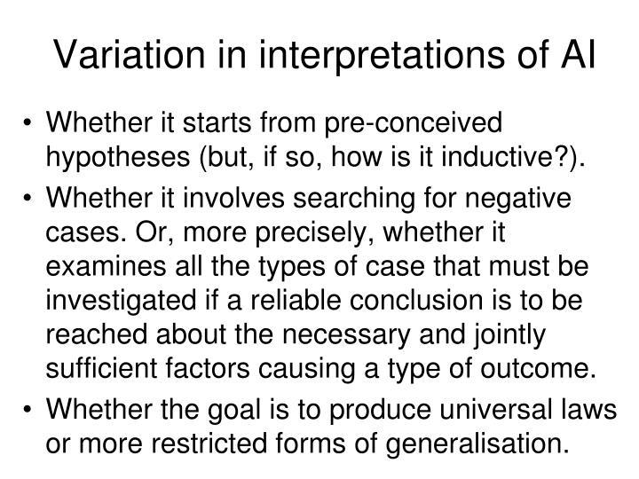 Variation in interpretations of AI