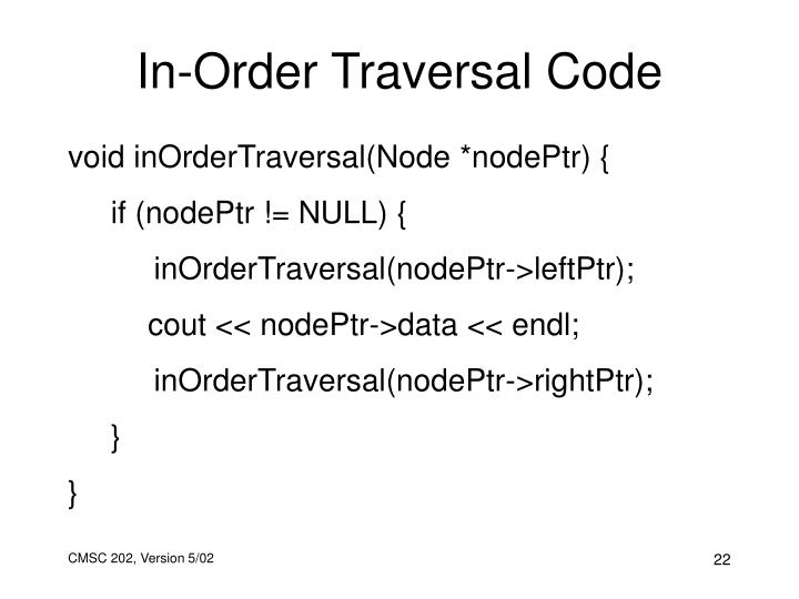 In-Order Traversal Code
