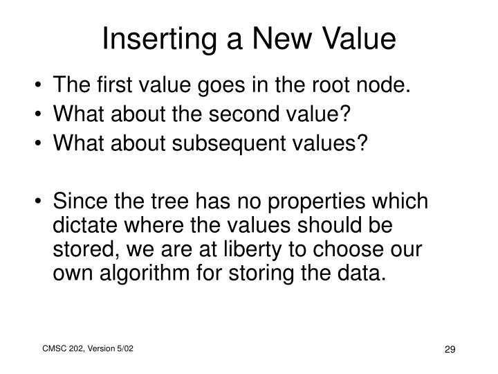 Inserting a New Value