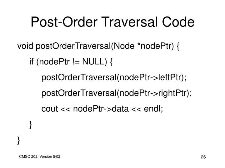 Post-Order Traversal Code
