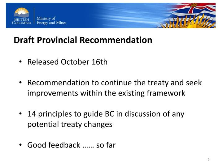 Draft Provincial Recommendation