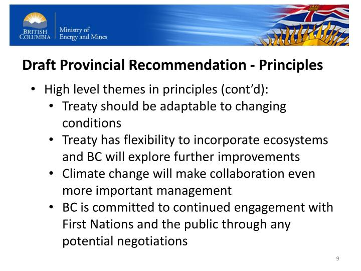 Draft Provincial Recommendation - Principles