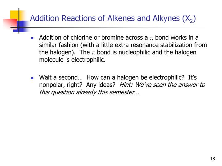 Addition Reactions of Alkenes and Alkynes (X