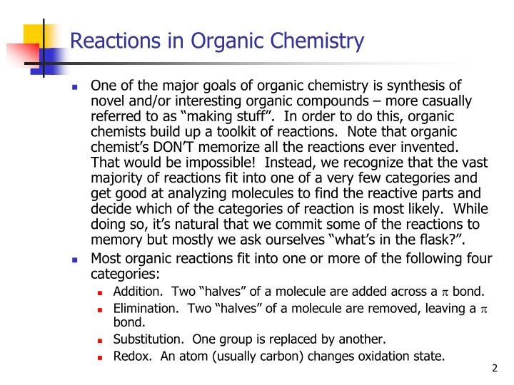 Reactions in organic chemistry