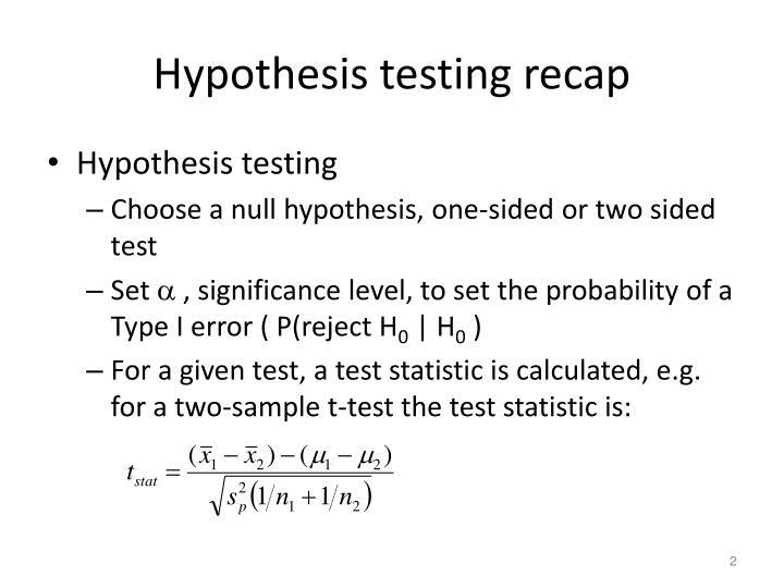 Hypothesis testing recap