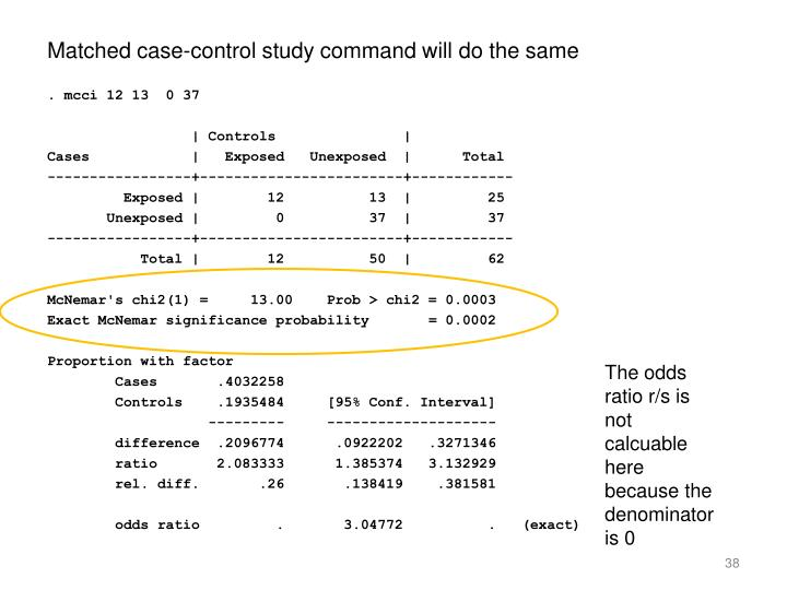 Matched case-control study command will do the same