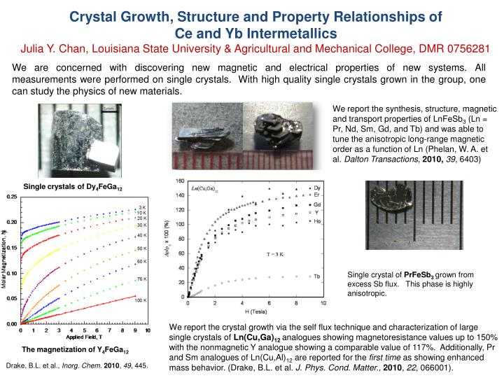 We are concerned with discovering new magnetic and electrical properties of new systems. All measurements were performed on single crystals.  With high quality single crystals grown in the group, one can study the physics of new materials.