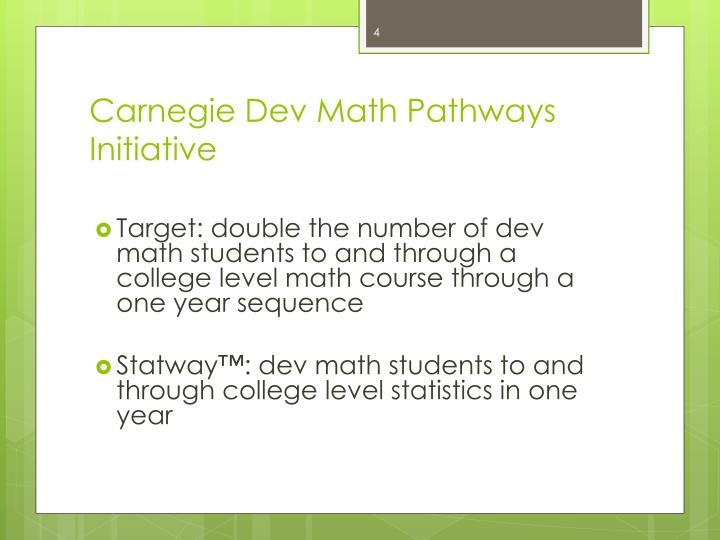 Carnegie Dev Math Pathways Initiative