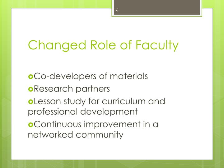 Changed Role of Faculty