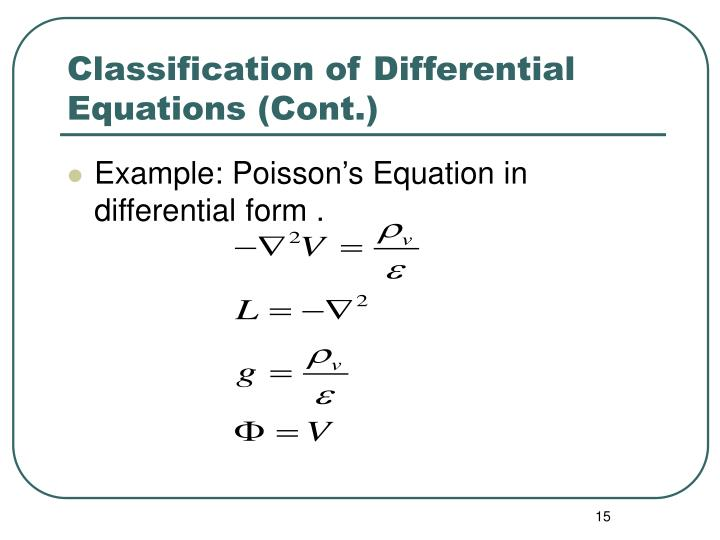 Classification of Differential Equations (Cont.)