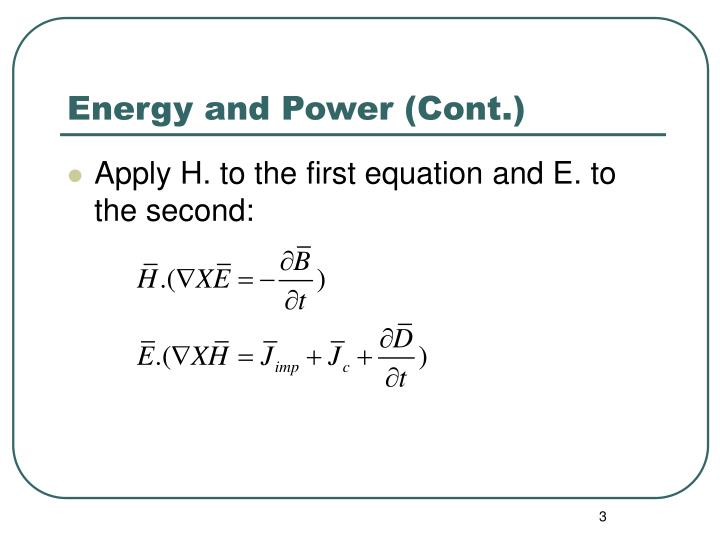 Energy and power cont