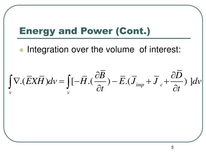 Energy and Power (Cont.)
