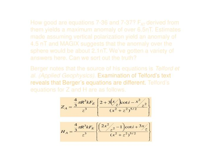 How good are equations 7-36 and 7-37? F