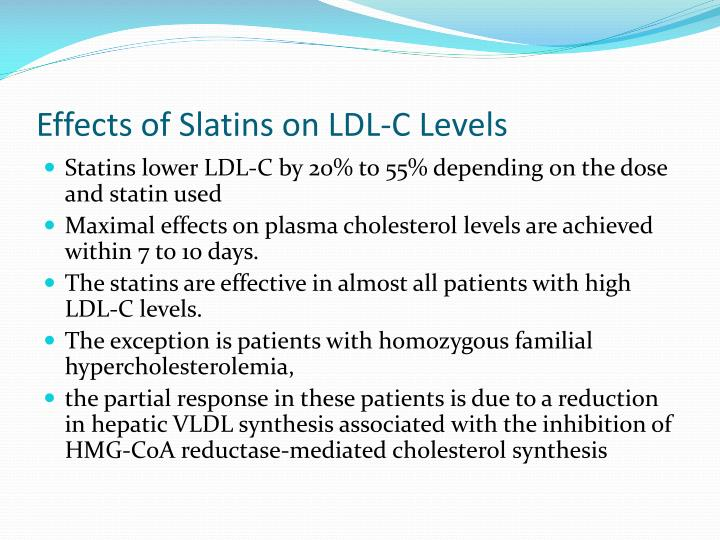 Effects of Slatins on LDL-C Levels