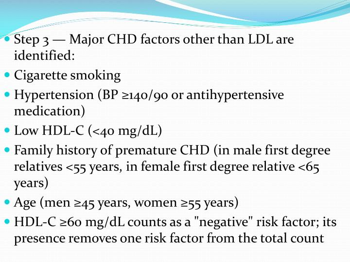 Step 3 — Major CHD factors other than LDL are identified: