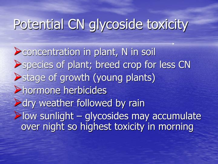 Potential CN glycoside toxicity