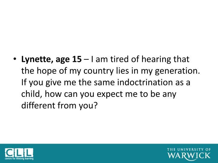 Lynette, age 15