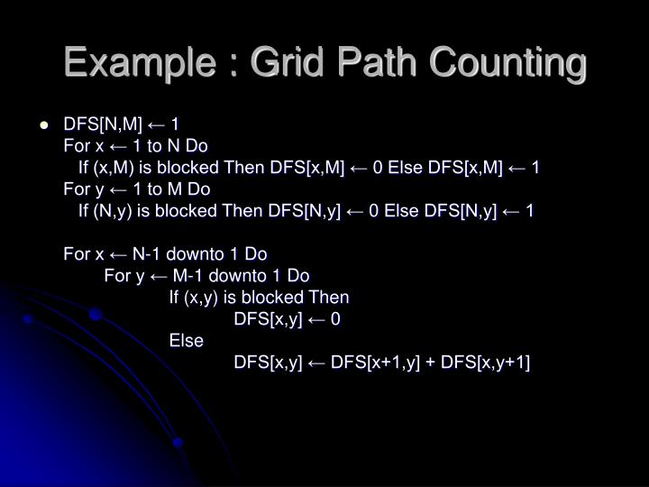 Example : Grid Path Counting