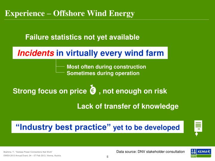 Experience – Offshore Wind Energy