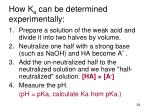 how k a can be determined experimentally