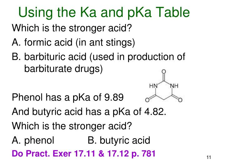 Using the Ka and pKa Table