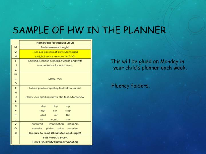 Sample of HW in the Planner