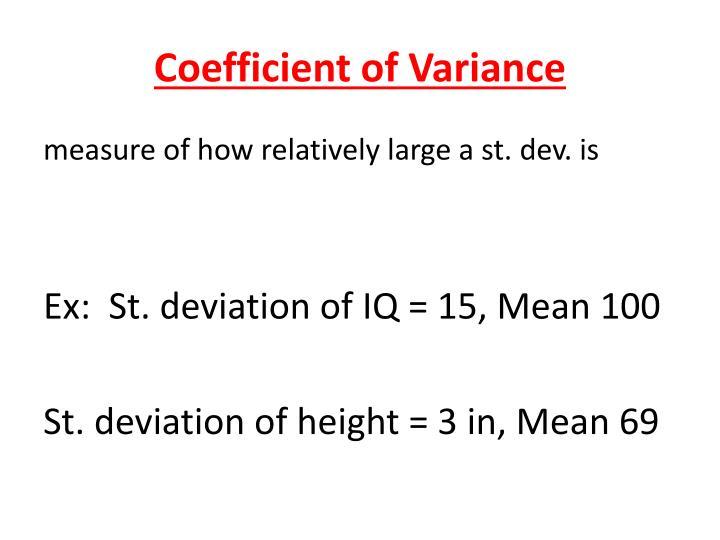 Coefficient of Variance