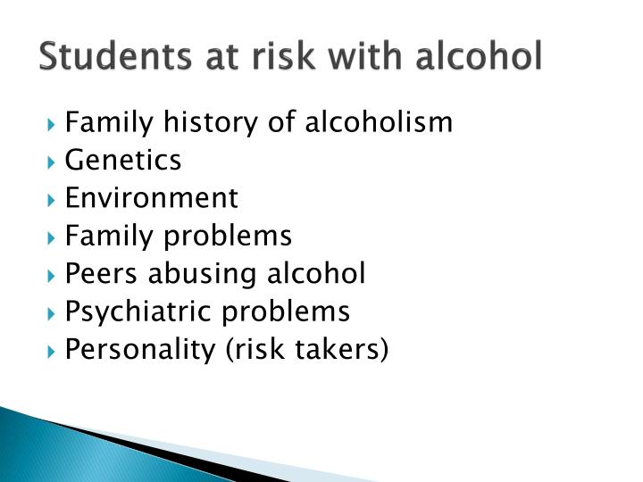 Students at risk with alcohol