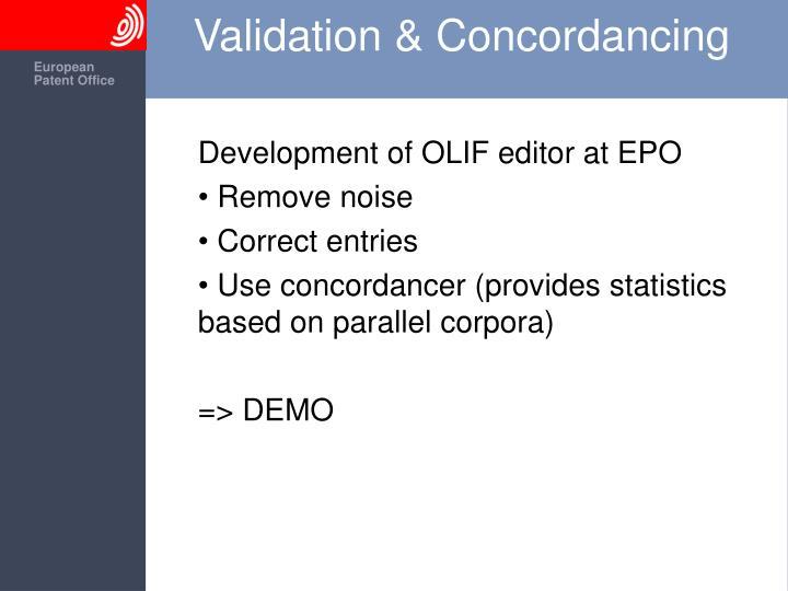 Validation & Concordancing