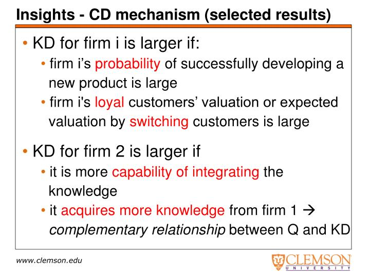 Insights - CD mechanism (selected results)
