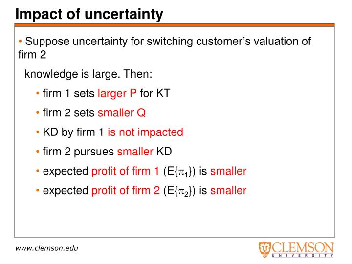 Impact of uncertainty
