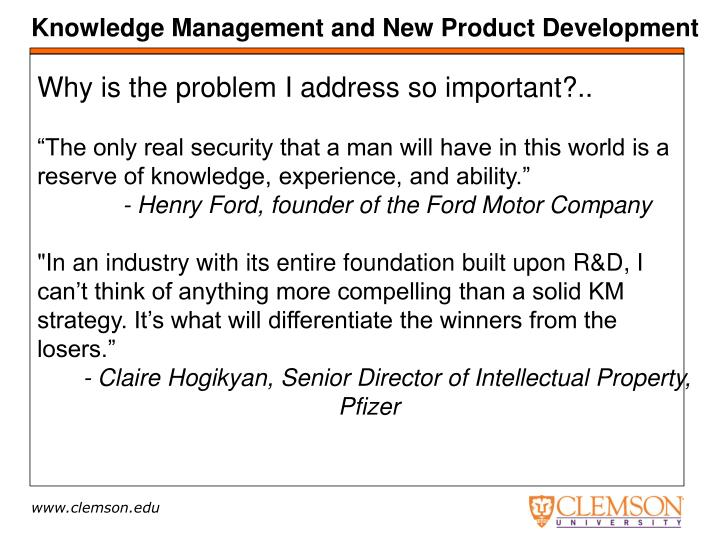 Knowledge Management and New Product Development