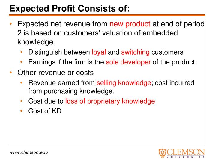 Expected Profit Consists of: