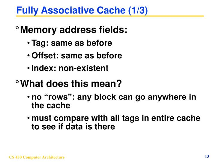 Fully Associative Cache (1/3)