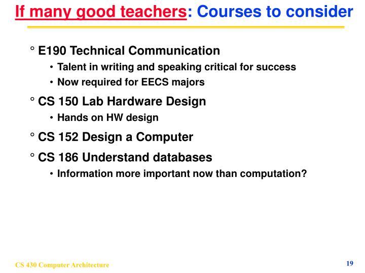 If many good teachers
