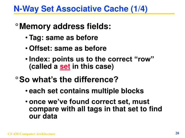 N-Way Set Associative Cache (1/4)